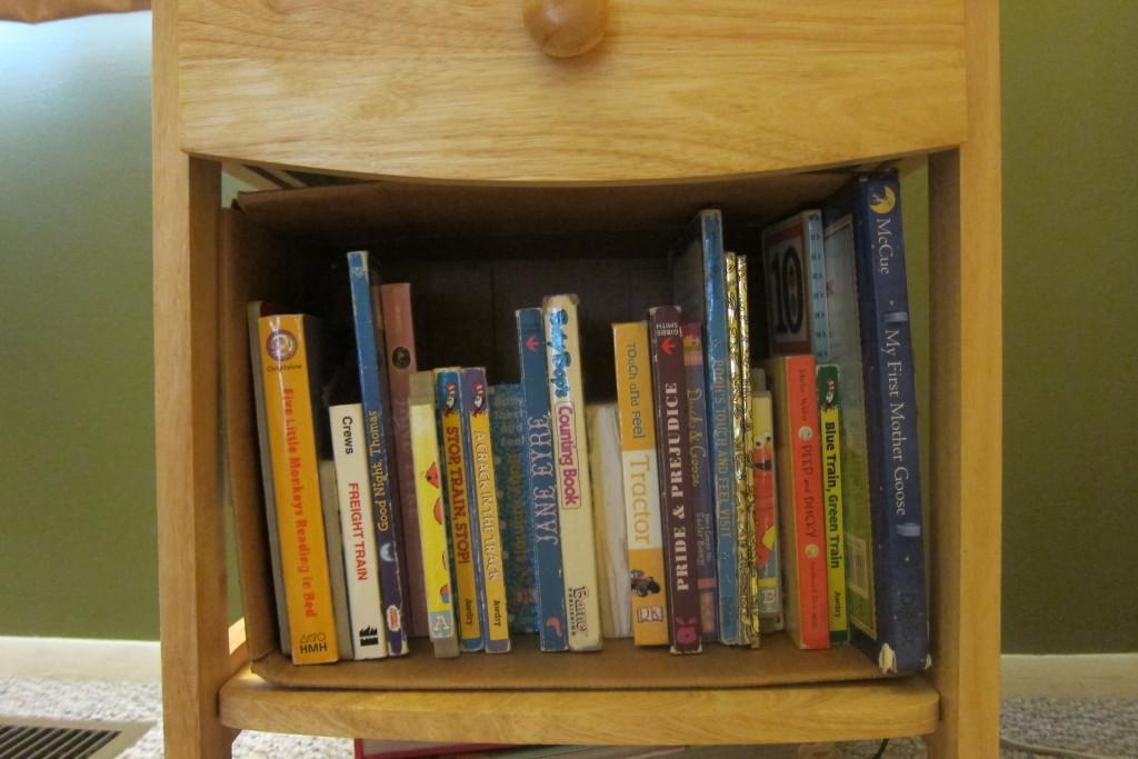 Makeshift children's bookshelf.