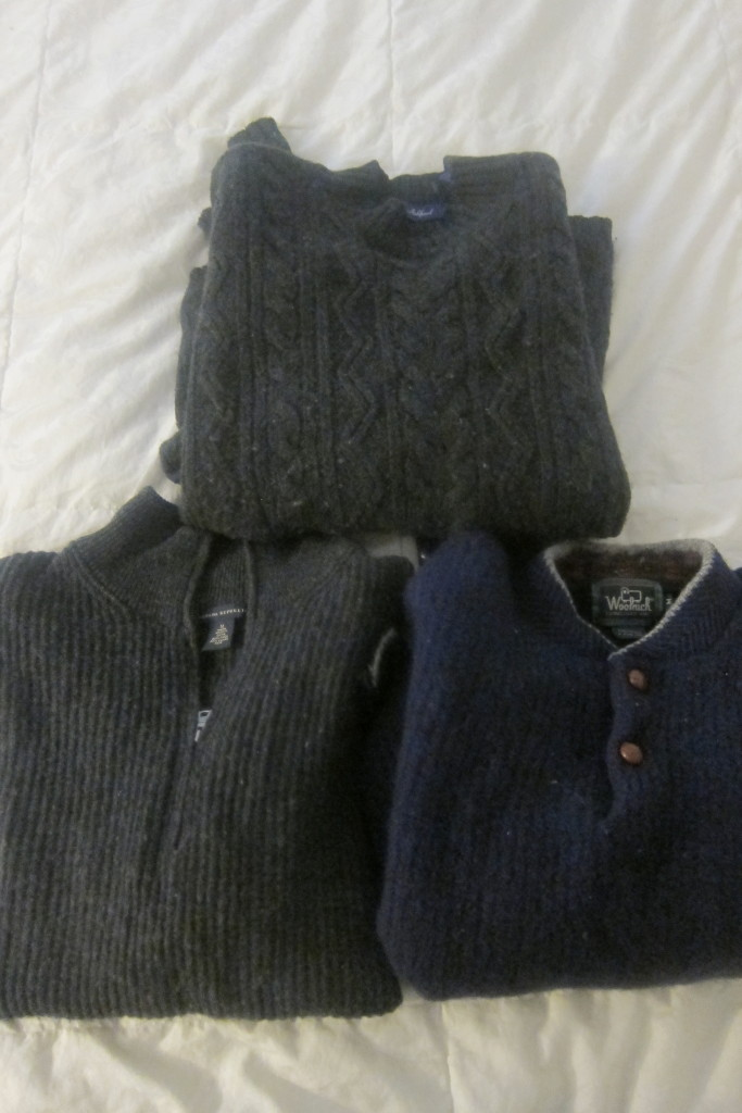 Neil's thrift store wool collection (minus the one he was wearing).