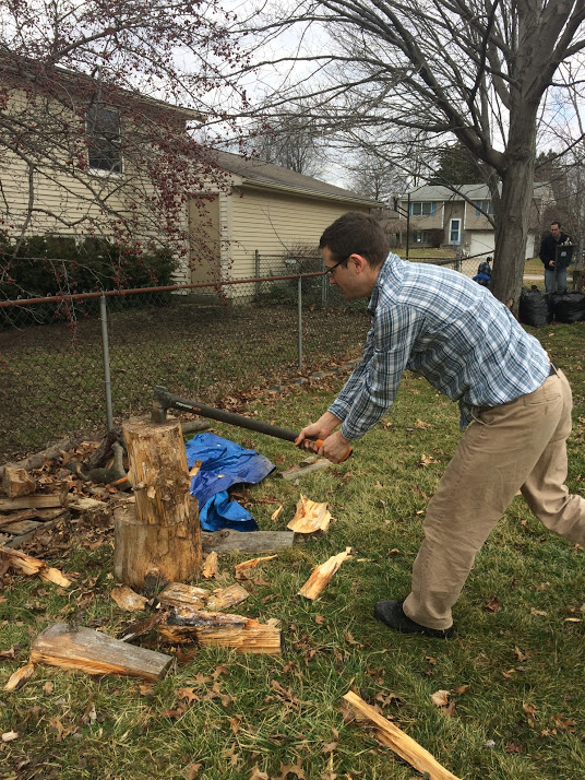 Splitting wood for the fire.
