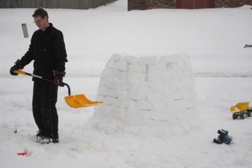 "The ""snow hut"" the boys built last winter."