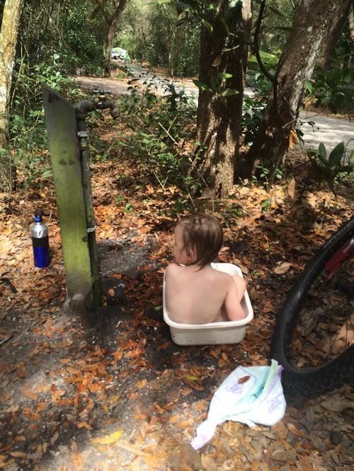 Baby camp bath.
