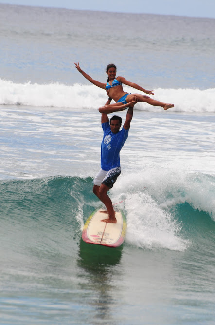 Tandem surfing competition we happened upon in Hawaii--so cool!